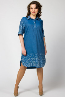 "Платье-рубашка ""СКС"" 2886/1 (Голубой/белый)"